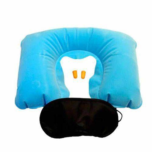Kit Viagem - Travesseiro Pescoço - Máscara - Protetor Ouvido