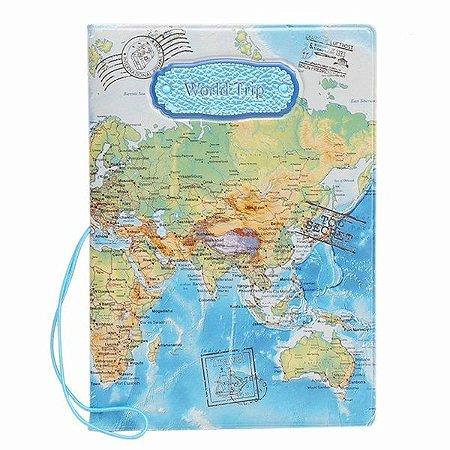 Capa Para Passaporte Mapa Mundi Vintage World Trip - azul
