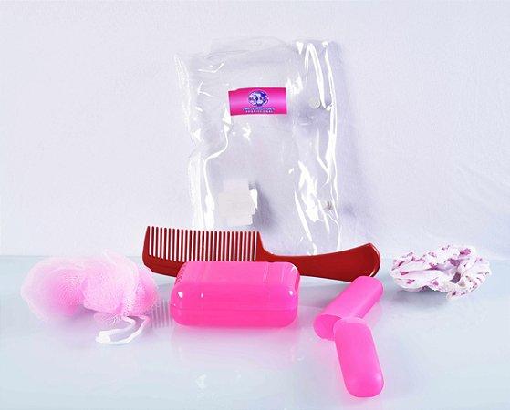 Kit de viagem rosa