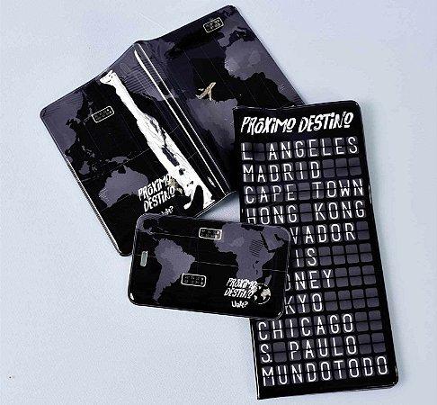 Kit viagem - capa de passaporte - tag de mala - porta documentos