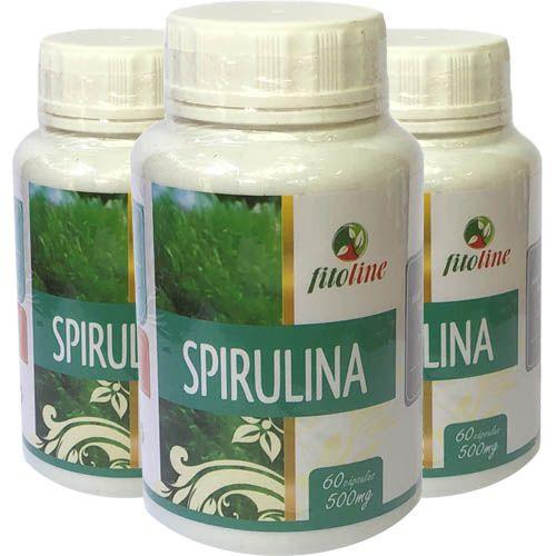 Spirulina Orgânica 500mg 120 Cápsulas (Kit 3 unidades)