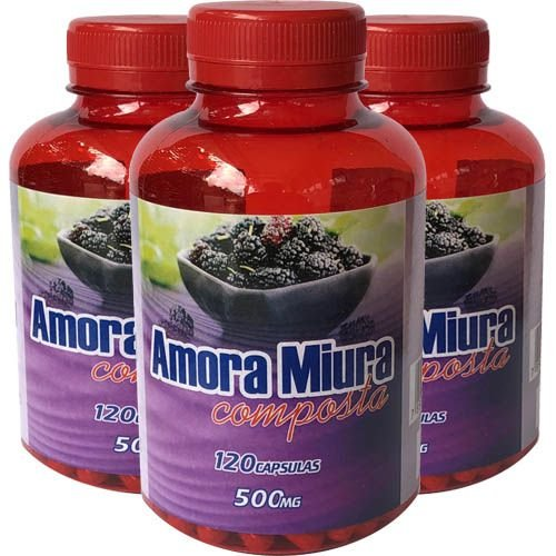 Amora Miura 500mg 120 Cápsulas (Kit 3 unidades)
