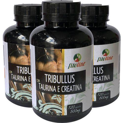 Tribulus Terrestris + Creatina e Taurina 500mg 120 Cápsulas (Kit 3 unidades)