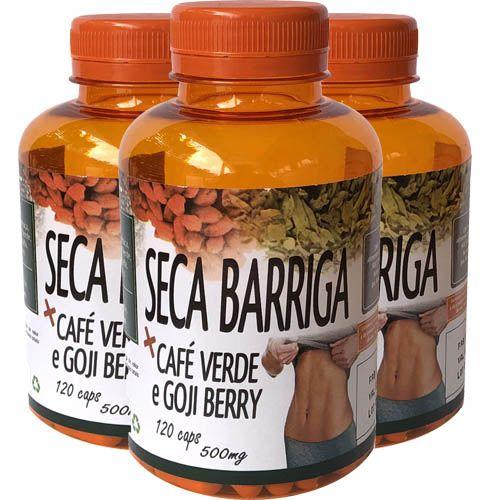 Café Verde + Goji Berry + Chia Seca Barriga 500mg 120 Cápsulas (Kit 3 unidades)
