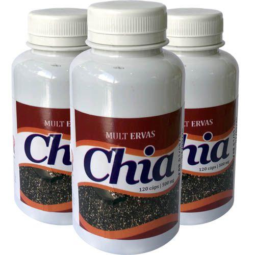 Semente de Chia 500mg 120 Cápsulas (Kit 3 unidades)