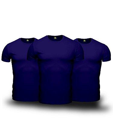 Combo 03 Camisetas Básicas Azul Marinho