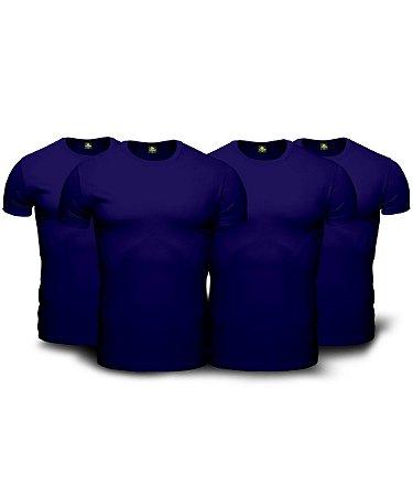 Combo 04 Camisetas Básicas Azul Marinho