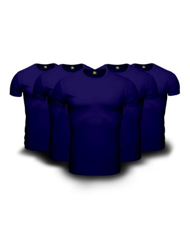 Combo 05 Camisetas Básicas Azul Marinho