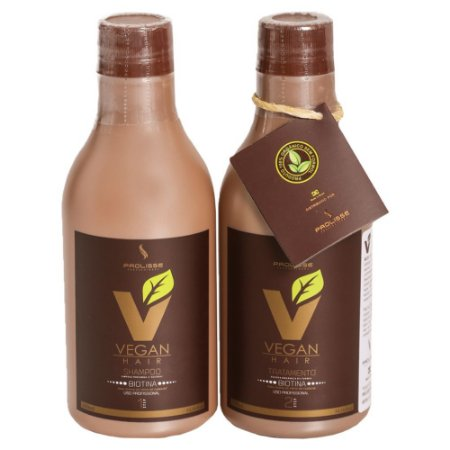 KIT ESCOVA PROGRESSIVA DE BIOTINA VEGAN HAIR 100% VEGANA - ORGÂNICA - 0%FORMOL - KIT 300ML