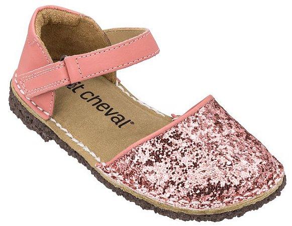 Sandália Infantil Ciranda Gliter Rosé/ Flor