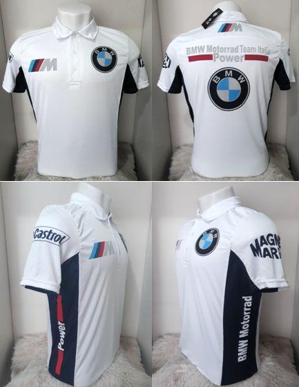 Camisa Polo BMW 02 Dry Fit Branca - Motoland Acessorios Esportivos 47af7ad1775f0