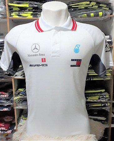 2fc4b1dd0 Camisa Mercedes Gola Polo Dry Fit Branca Modelo Formula 1 Gp ...
