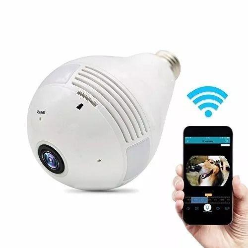 Camera Ip Lâmpada Wifi Full HD 1080p Panorâmica 360°