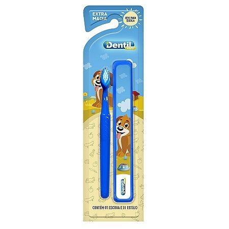 Escova Dental Dentil Kids com Estojo Azul