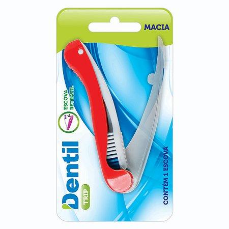 Escova Dental Dentil Viagem Macia Vermelha