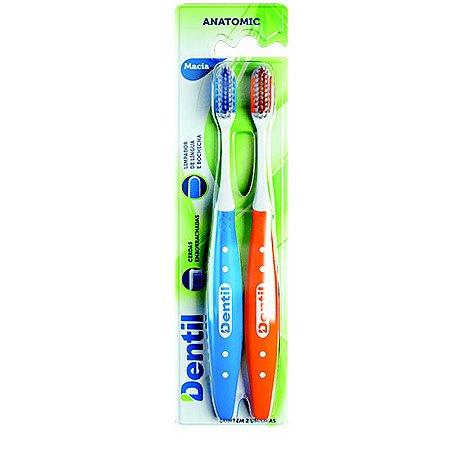 94f0032bf Escova Dental Dentil Anatômica Macia 2 Unidades