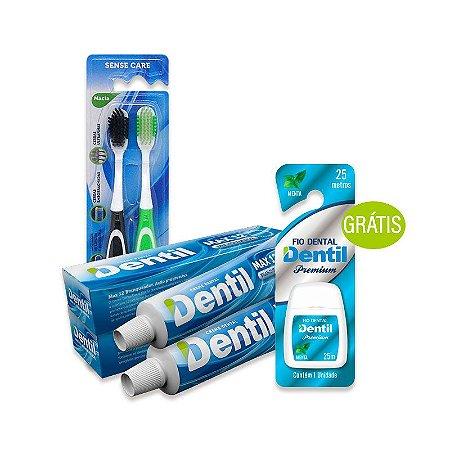 Kit Escova Dental + Creme Dental + Fio Dental