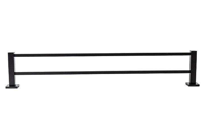 Toalheiro 60cm Duplo Preto com Roseta
