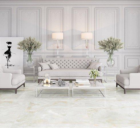 Porcelanato Ret Polido Onix Branco Puro (120×120)