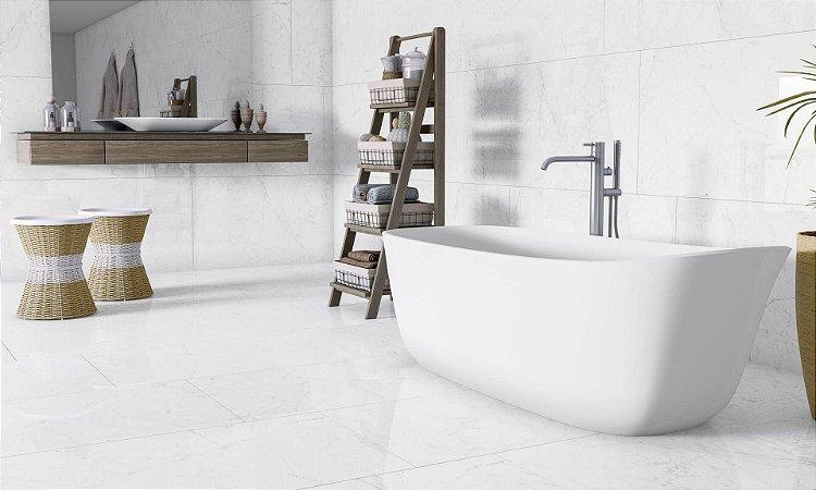 Porcelanato Mármore Polido Esmaltado Exclusive Carrara Gois Lux Plus (82×82)