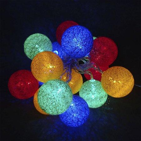 Cordão 16 bolas Barbante Colorido USB 3 metros
