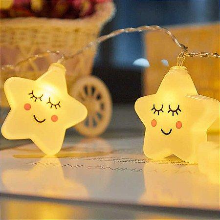 Cordão De Luz Estrela Sorridente Led Luminária Usb/ Pilha