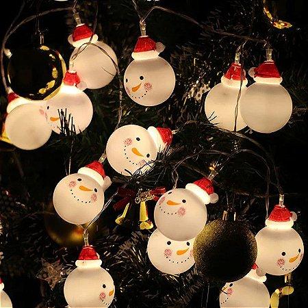 Pisca Festão De Natal Enfeite De Boneco De Neve Bivolt