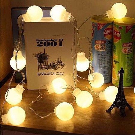 Cordão Fio De Luz Luminária 20 Bolas Branco Quente Bivolt
