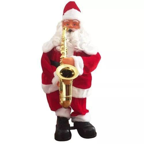 Papai Noel Grande Dança Saxofe 60cm Sensor De Movimento