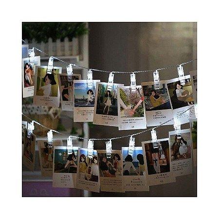 Cordão luz pregador prendedor led 10 fotos branco frio