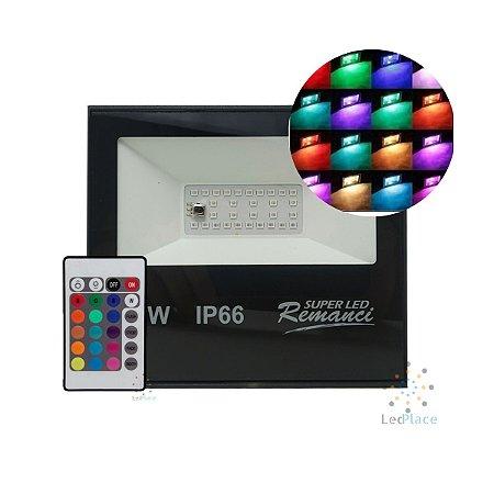 Refletor Led Holofote SMD 50w Rgb Colorido Prova D'água Controle