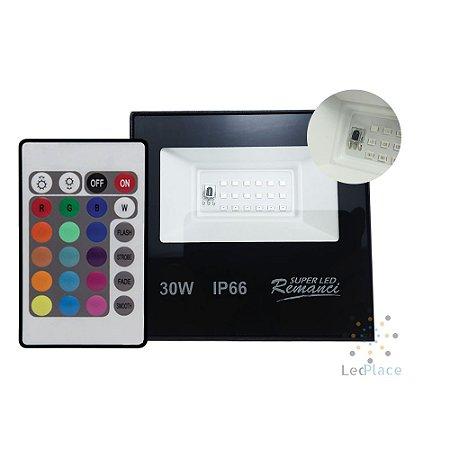Refletor Led Holofote SMD 30w Rgb Colorido Prova D'água Controle