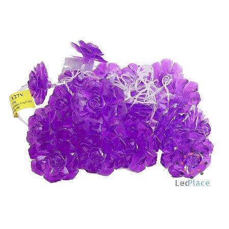 Cordão Pisca Rosas Roxa com Luz Azul cristais luminosas 110V