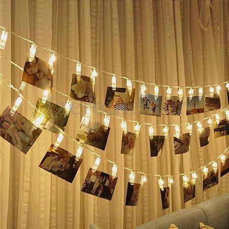 Cordão luz pregador prendedor led 10 fotos branco quente amarelado