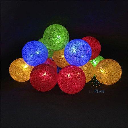 Cordão Led Bolinha colorido Cotton Ball iluminação de Festa