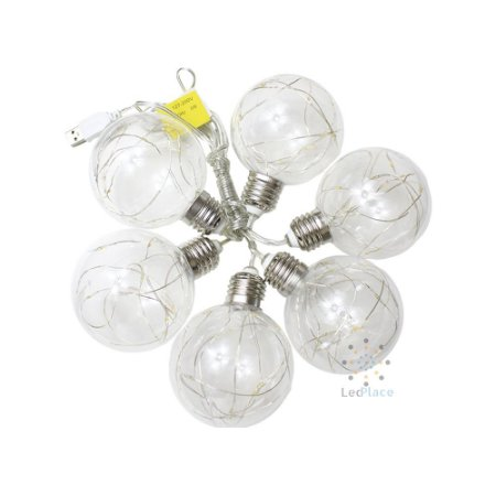 Varal Led 6 Lâmpadas Fio de Fada Incandescentes Branco quente
