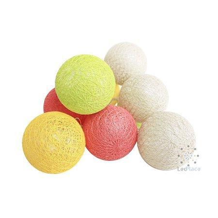Cordão Led Pisca Bolas colorido Cotton Ball Decoração Festa pilhas