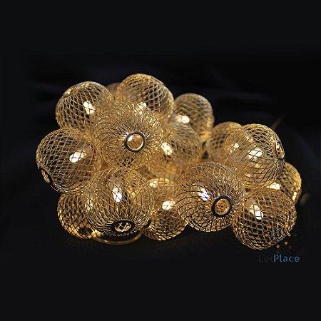 Cordão Pingente Fio De Luz Luminária Bolas Douradas branco Quente BIVOLT