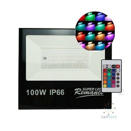 Refletor Led Holofote SMD 100w Rgb Colorido Prova D'água Controle