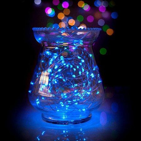 Fio com luz de fada 100 LED Azul 10 metros Bivolt tomada