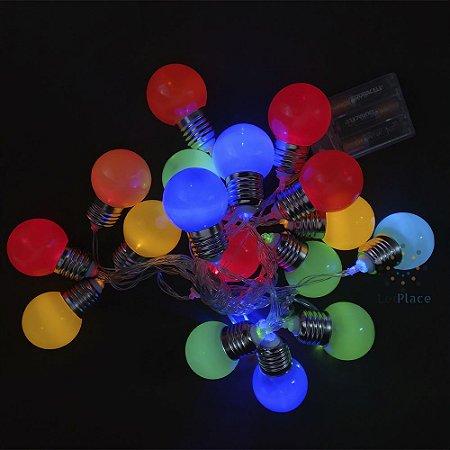 Cordão 20 Lâmpadas bola colorida Usb Ou Pilha Colorido Fixo