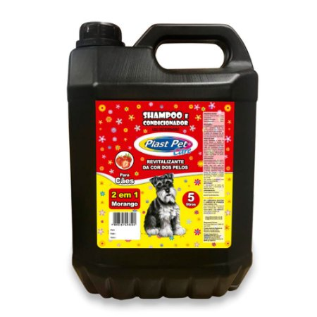 Shampoo e Condicionador 2 em 1 Morango Plast Pet 5L