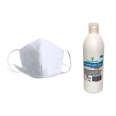 Kit Alcool em Gel + Máscara Tecido Lavável Branca com Dupla Proteção