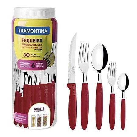 Faqueiro Ipanema Aço Inox 30Pcs Vermelho - Tramontina