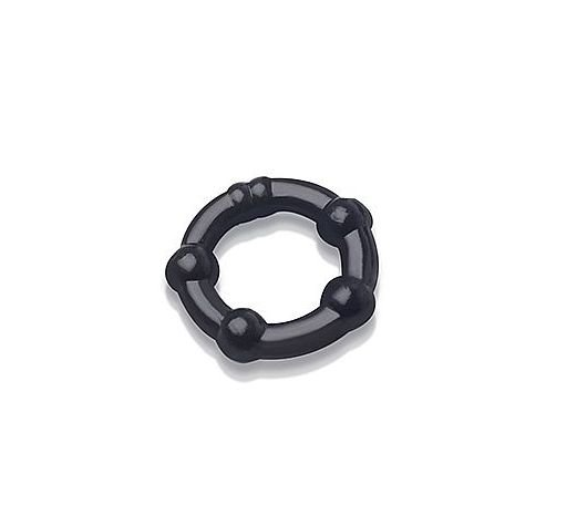Anel em Silicone com esferas -preto -p