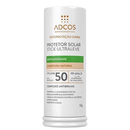 Adcos Protetor Solar Ultraleve Antioleosidade Stick FPS 50 Nude 12g