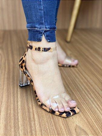 Sandália Salto Cristal Onça