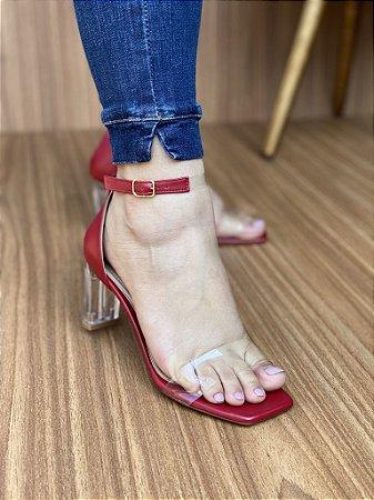 Sandália Salto Cristal Vermelho