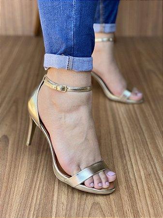 Sandália Salto Fino Ouro