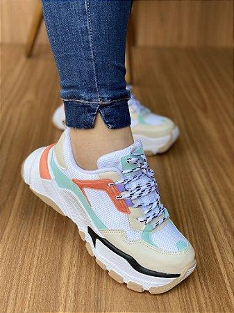 Tênis Sneaker Branco/Laranja/Lilás S5440
